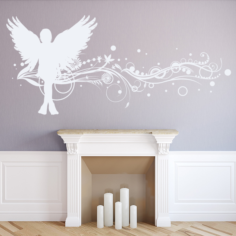 Floral Angel Wall Sticker Fantasy Wall Art