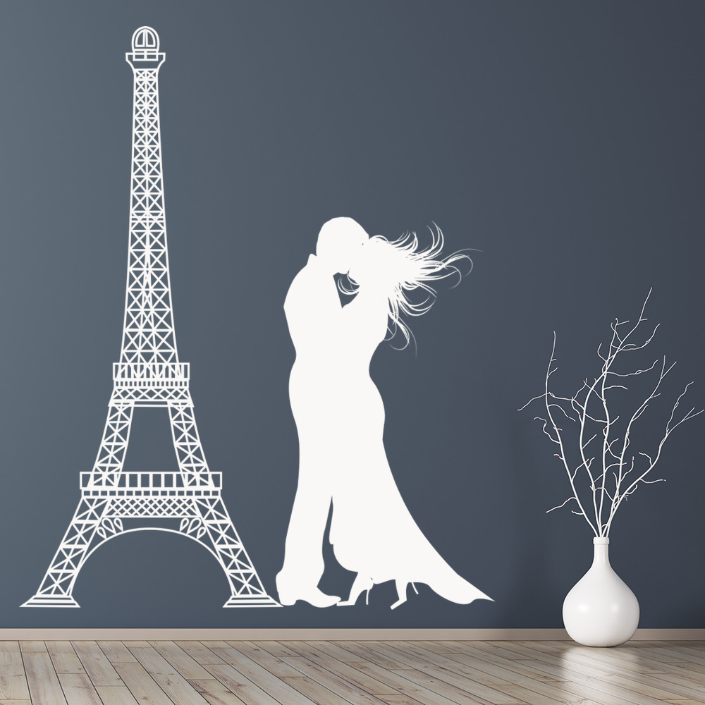 Eiffel Tower Couple Silhouette Rest of the World Wall Stickers Home Art Decals