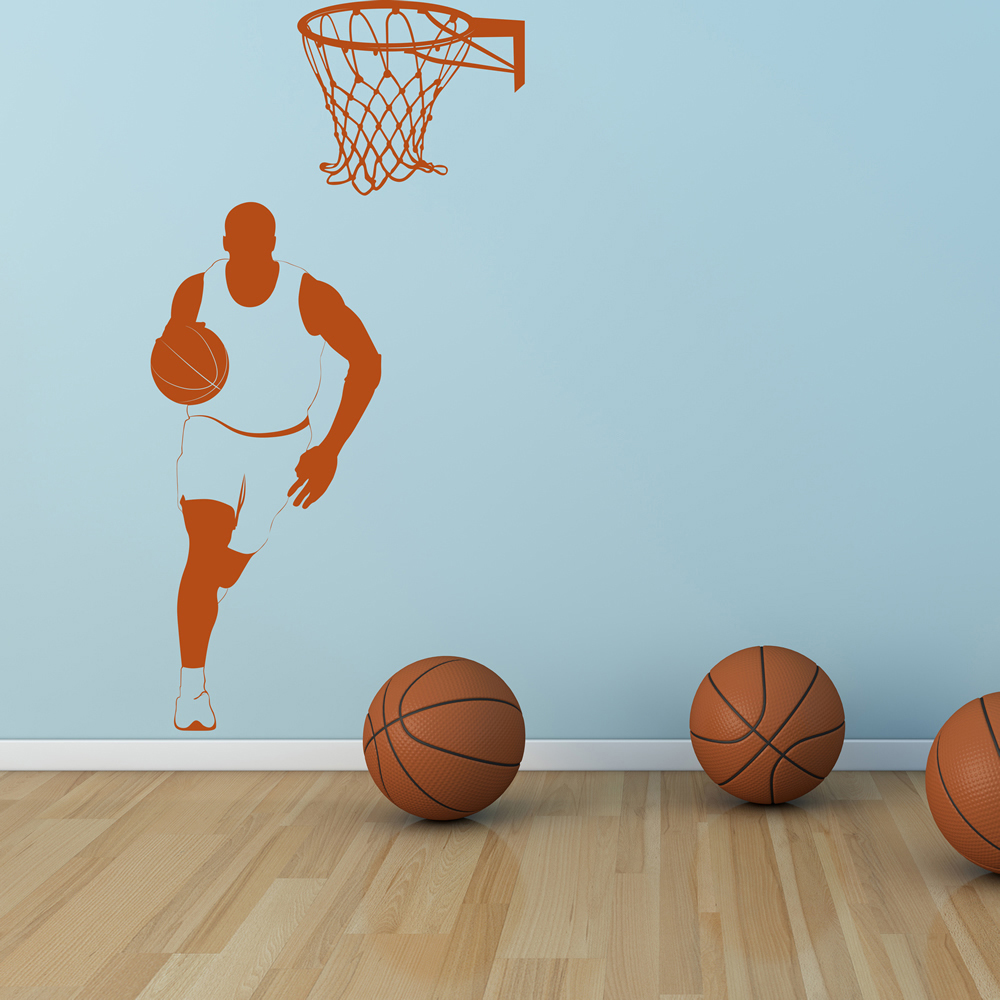 floor tile for bathroom basketballer and hoop wall sticker sport wall 18339