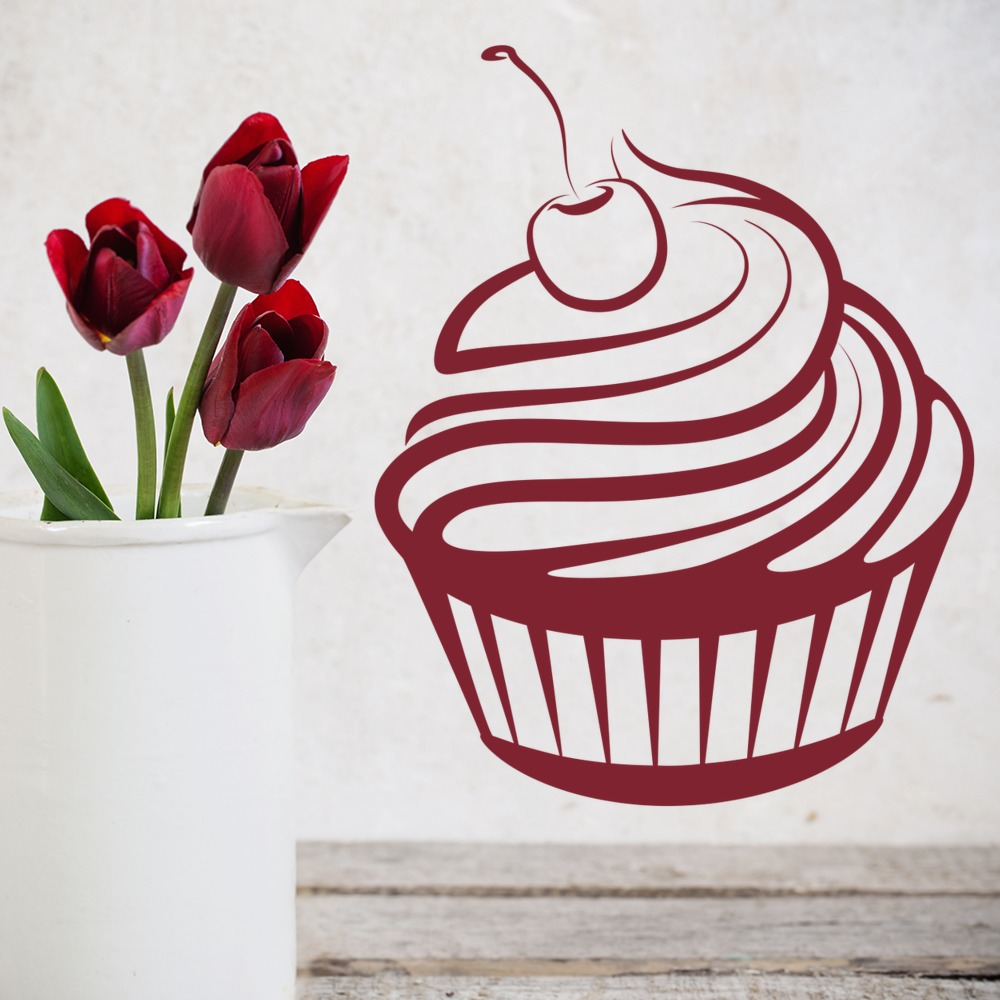 Cherry Cupcake Wall Stickers Cupcake Wall Art