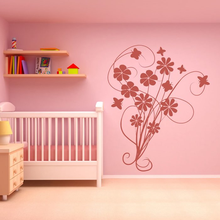 Flowers With Butterflies Wall Art Sticker Wall Decal