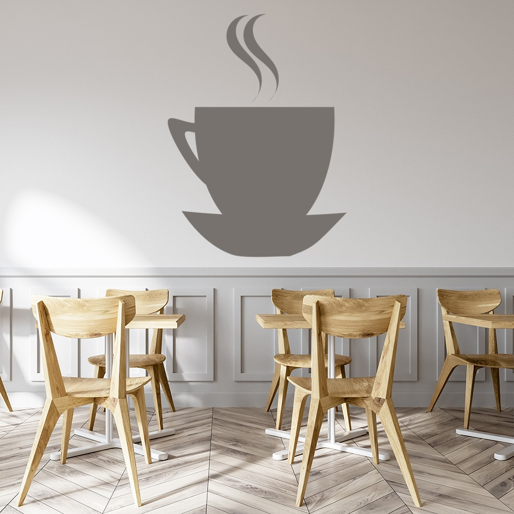 Coffee Cup on Saucer Kitchen Print Wall Art Stickers