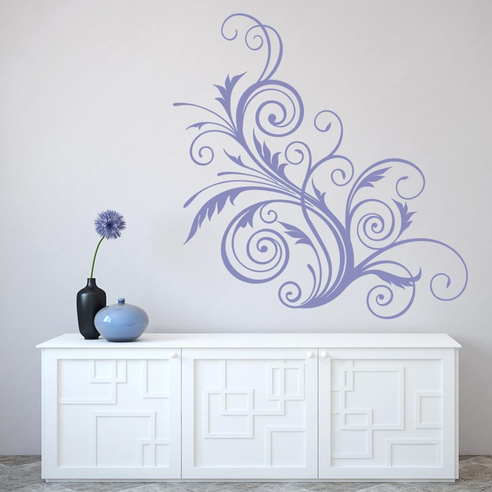 floral swirl print wall sticker decorative wall art boat ship s wheel decorative wall sticker wall art sticker