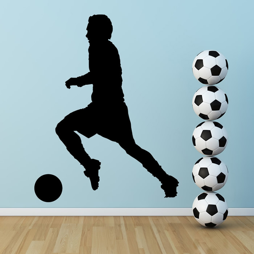 football player wall stickers sports wall art soccer wall sticker football player decal sports