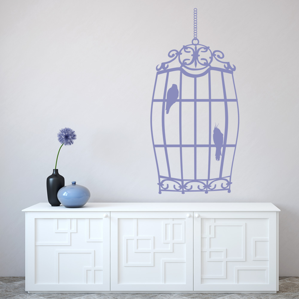 hanging bird cage wall sticker decorative wall art