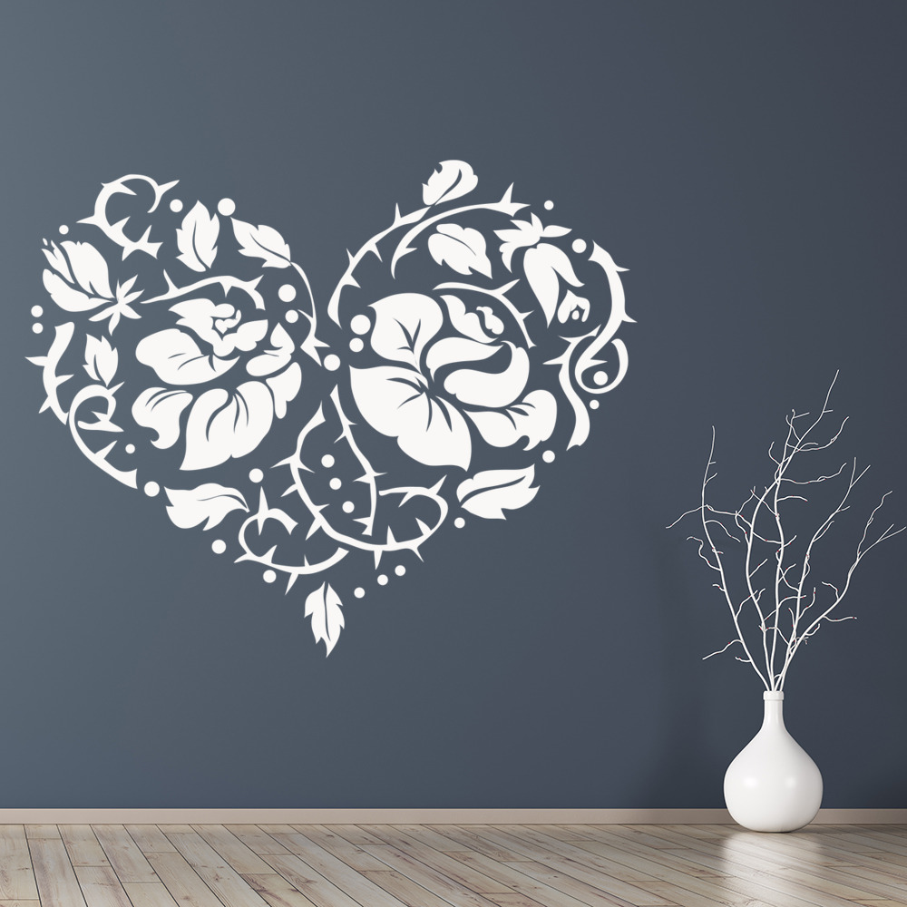 rose and thorns heart shaped flowers and trees wall