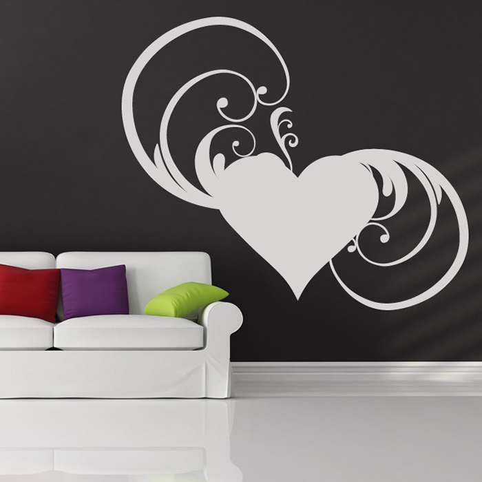 Floral Heart Wall Stickers Love Wall Art