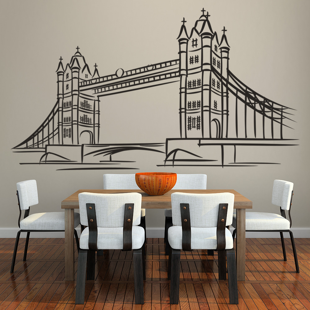 Tower Bridge London Landmark United Kingdom Wall Stickers Home Decor Art Decals