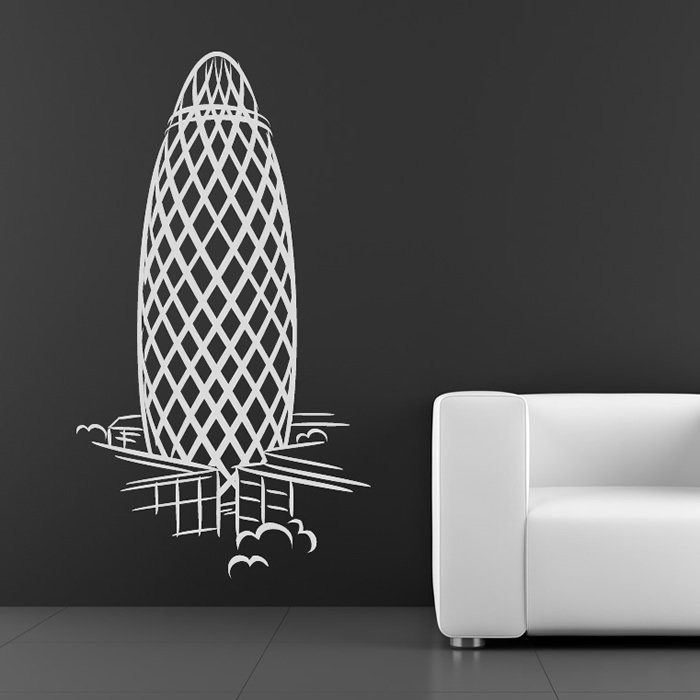 The Gherkin London Building United Kingdom Wall Stickers Home Decor Art Decals