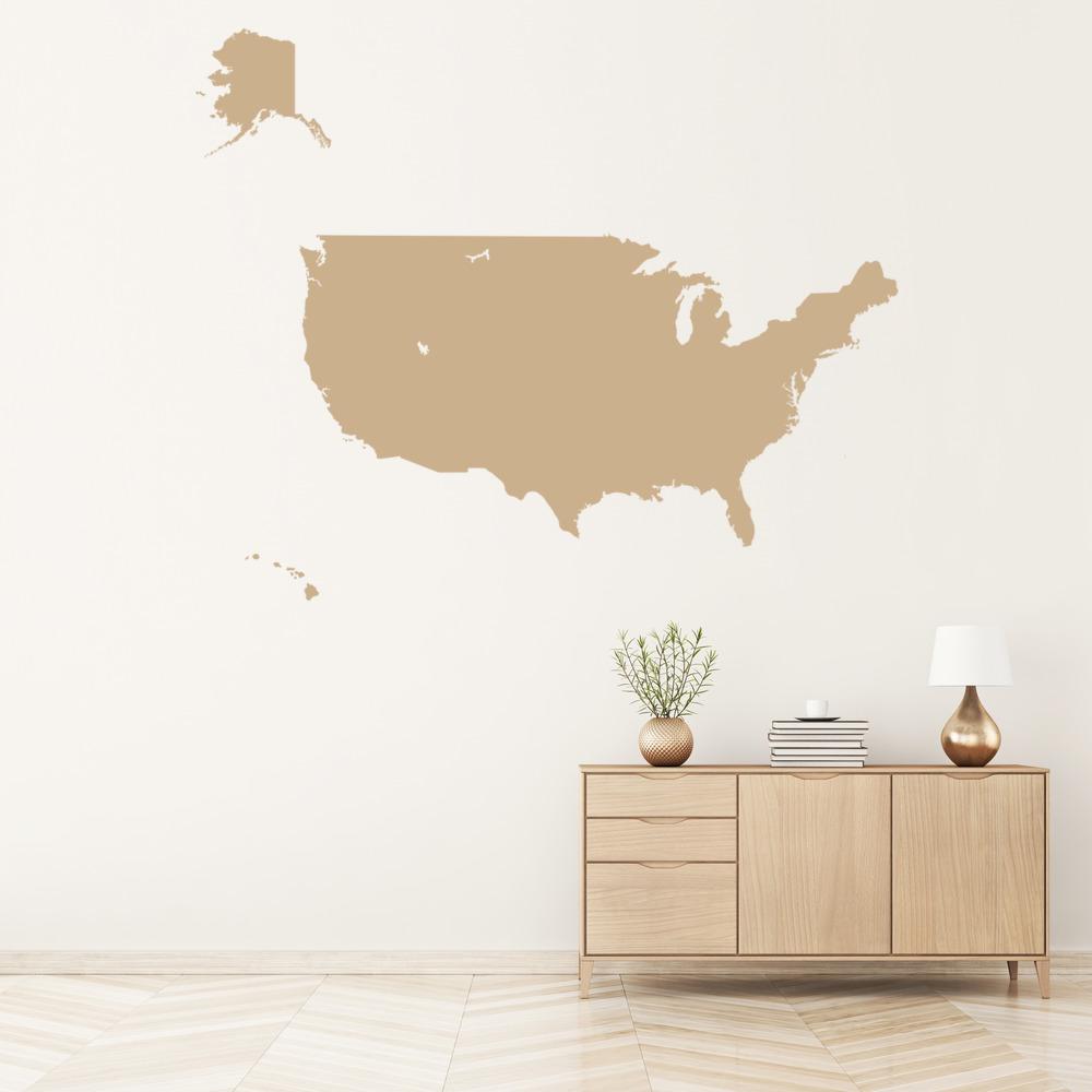 America Map Wall Sticker USA Map Wall Decal School Office