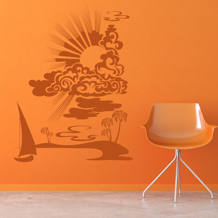 Sun Set Wall Stickers Beach Wall Art