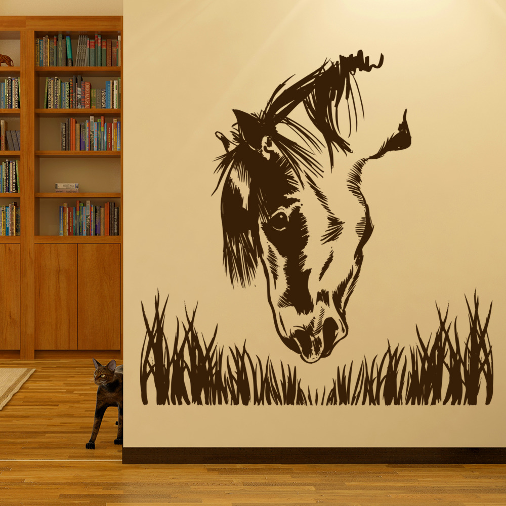 Horse Grazing Sketch Farmyard Animals Wall Stickers Home Decor Art Decals