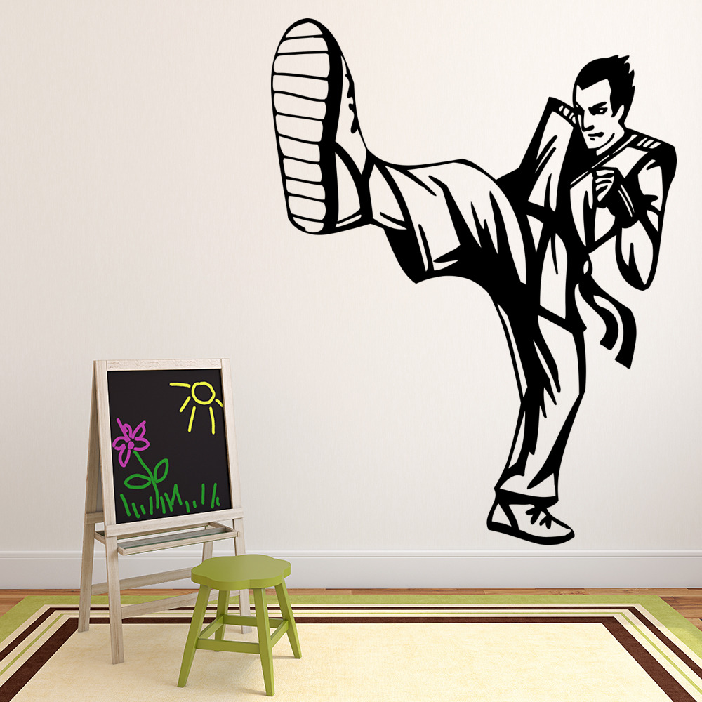 Karate Kick Wall Stickers Martial Art Wall Art