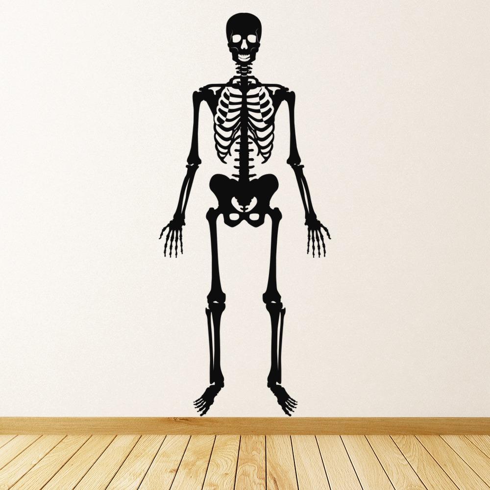 Forward Facing Skeleton Wall Sticker Skeleton Wall Art