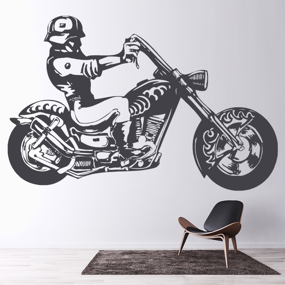 Hells Angel Biker Motorcycle Motorbike Wall Stickers Transport Decor Art Decals