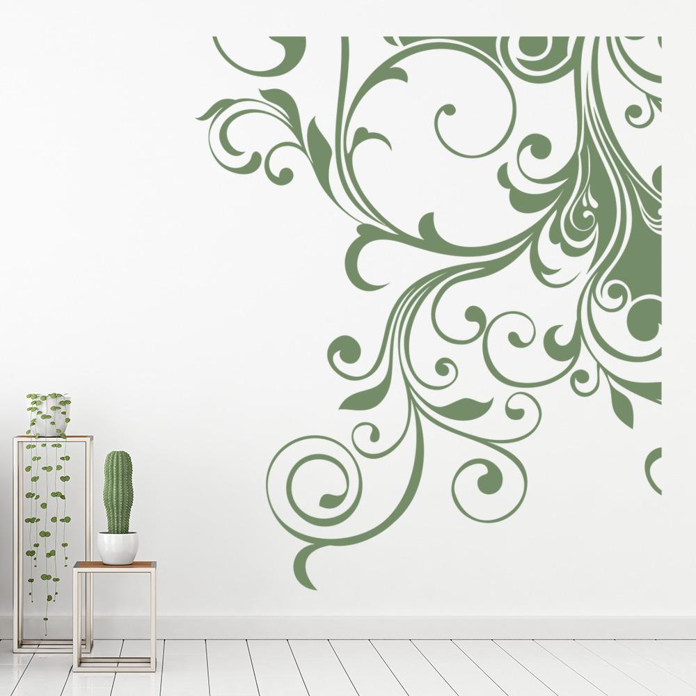 Curls and swirls wall sticker corner wall decal bedroom for Room decor embellishment art