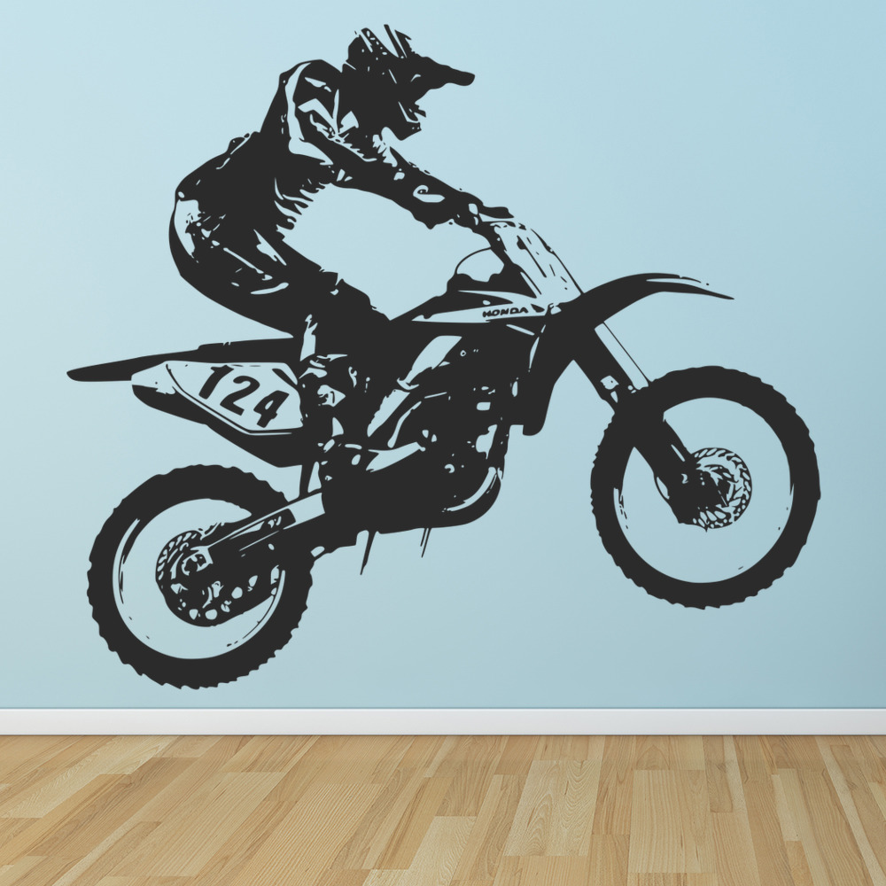 Honda Dirt Bike Wall Sticker Motocross Motorbike Wall Decal Boys