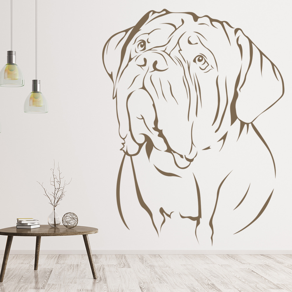 Dog De Bordeaux Face Portrait Canine Pet Dogs Wall Stickers Home Decor Art Decal