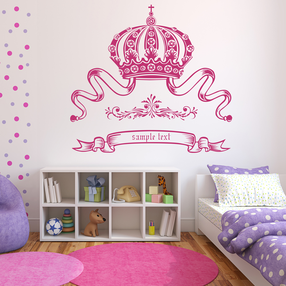 Personalised Name Wall Sticker Princess Crown Wall Decal