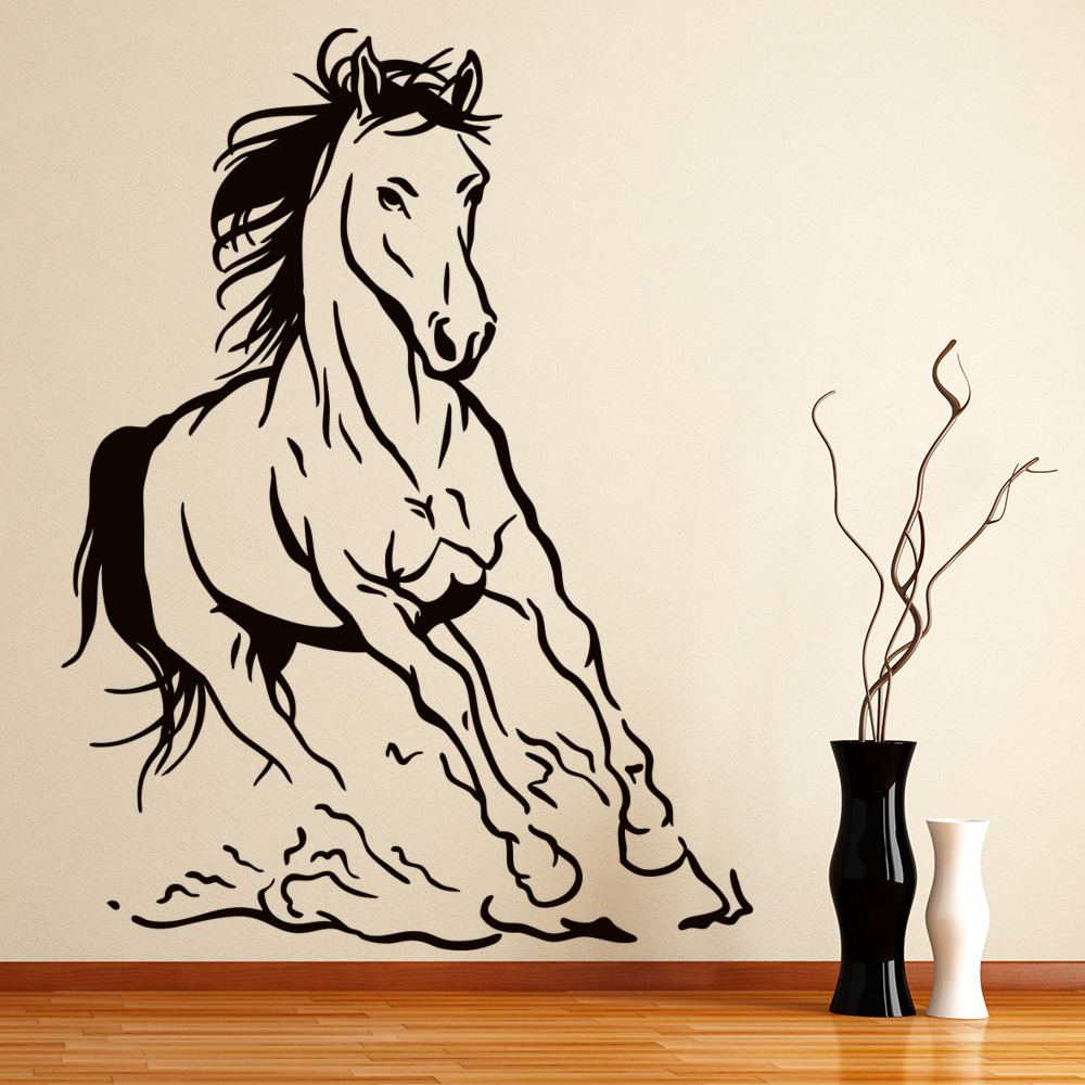 Galloping Wild Horse Farmyard Animals Wall Stickers Animal Decor Art Decals