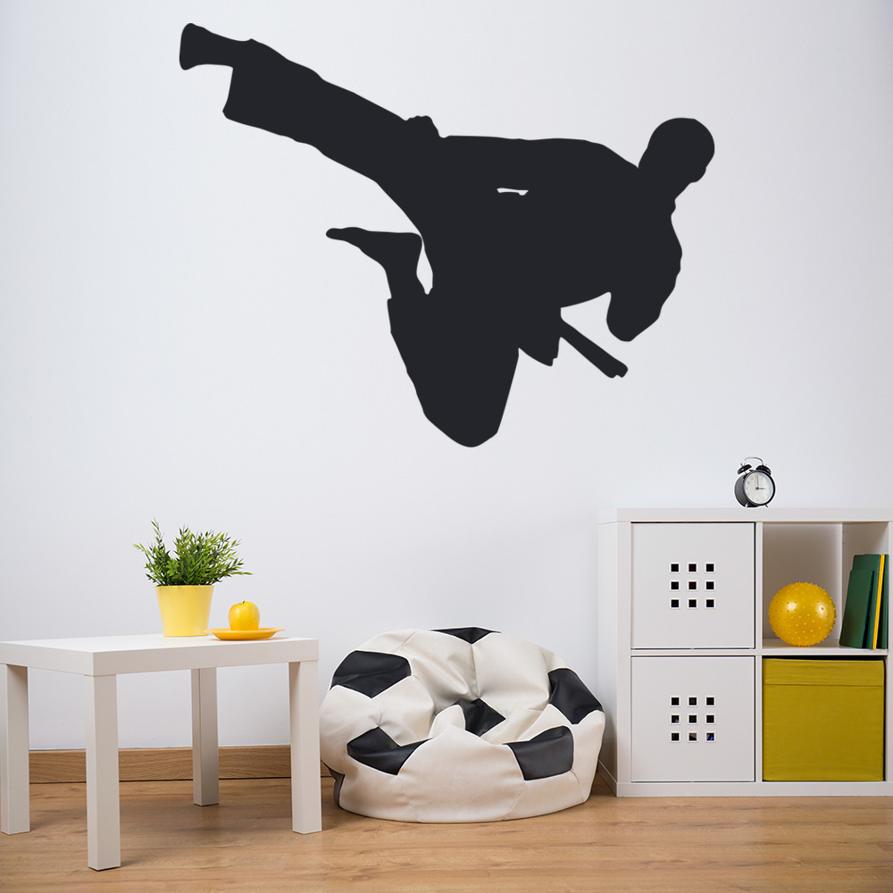 Flying Kick Wall Sticker Martial Arts Wall Art