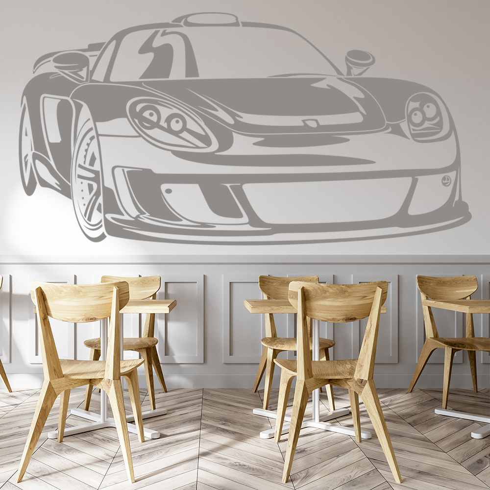 Porsche Carrera Cartoon Fast Racing Car Wall Stickers Motor Sports Art Decals