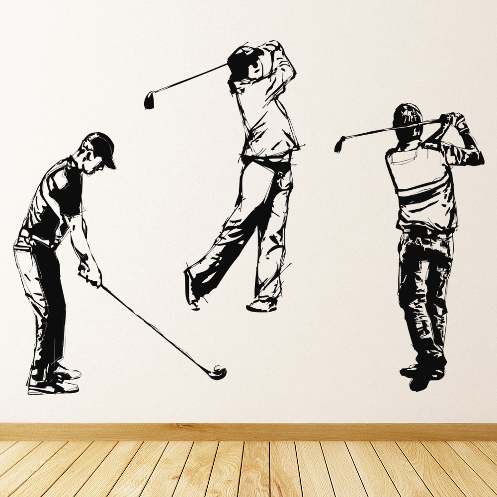 Golfers Group Golfing Players Golf Wall Stickers Gym Sport Decor Art Decals
