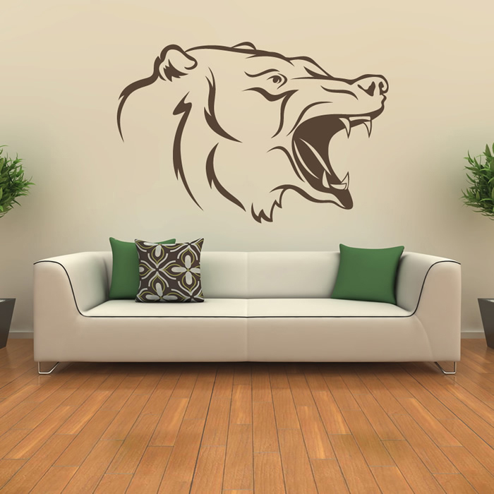 Roaring Bear Head Animal Wall Art Stickers Wall Decals