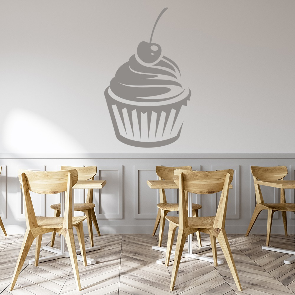 Simple Cherry Cupcake Wall Stickers Food Wall Art