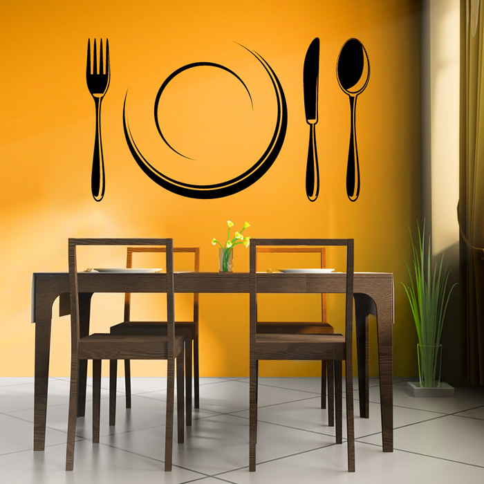 Cutlery Set And Plate Wall Sticker Kitchen Wall Art