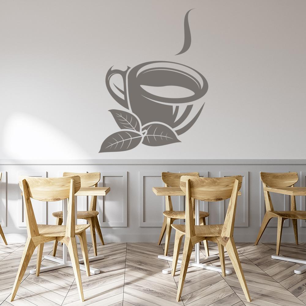 Tea Cup And Leaves Wall Sticker Tea Cup Wall Art