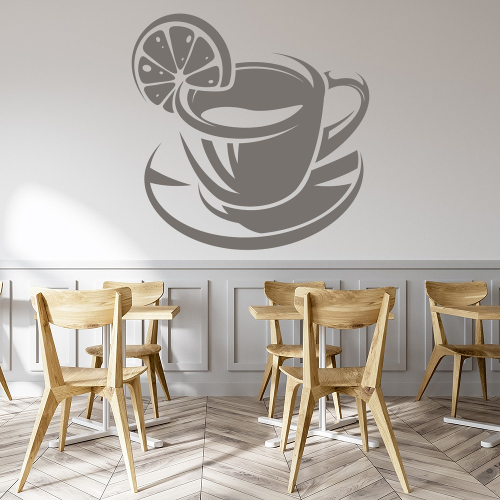 Lemon Tea Wall Sticker Tea Cup Wall Art