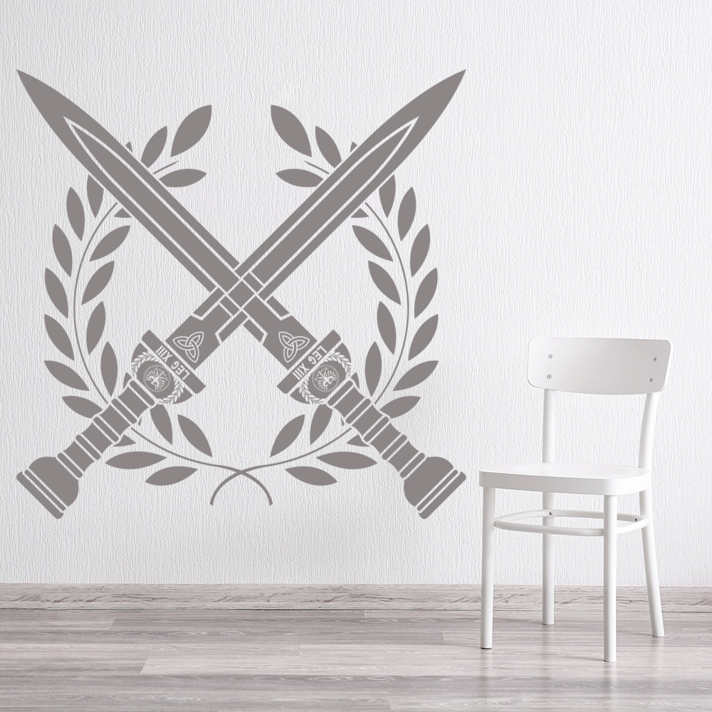 Roman Swords Cross Wreath Decorative Patterns Wall Stickers Home Decor Art Decal