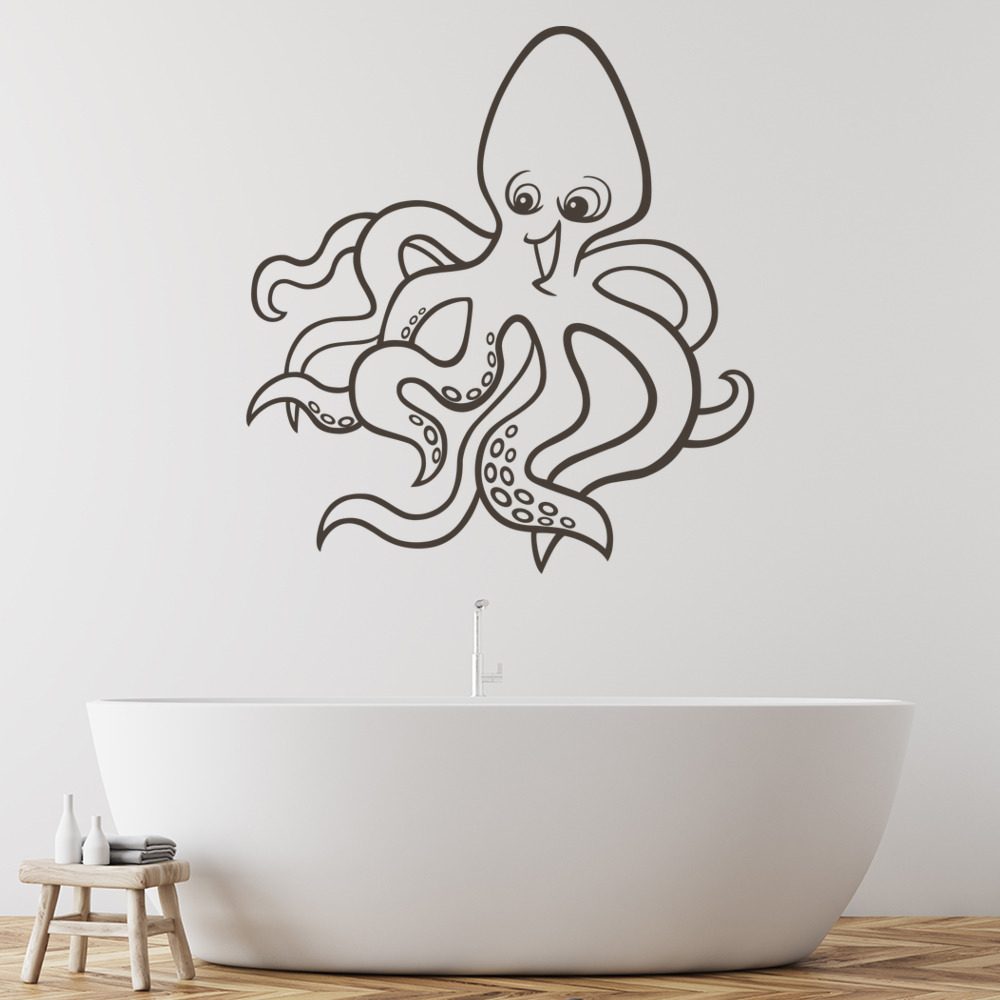 Happy Octopus Kids Cartoon Under the Sea Wall Sticker Bathroom Decor Art Decal
