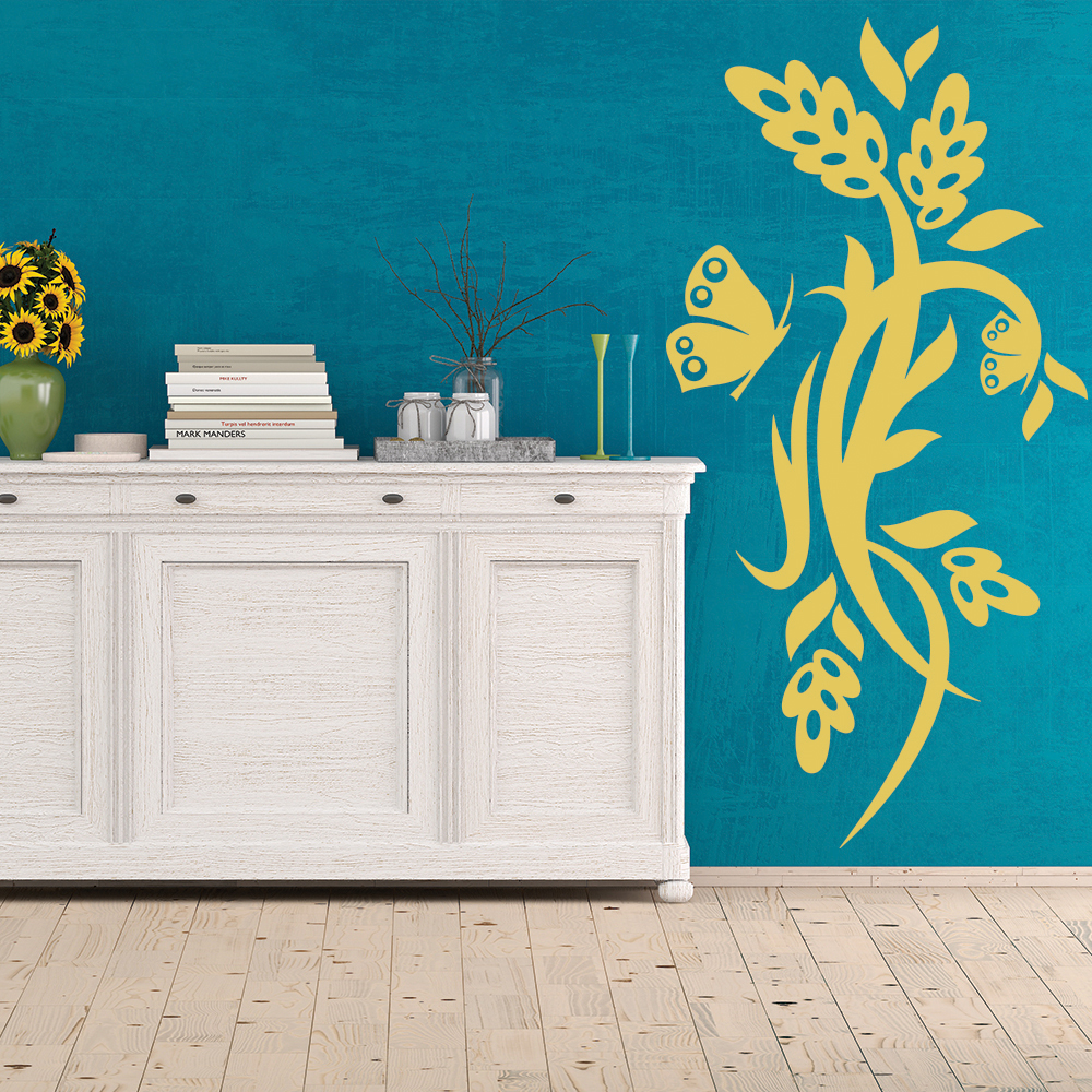 Flowers Butterflies Wall Art Sticker Wall Decal
