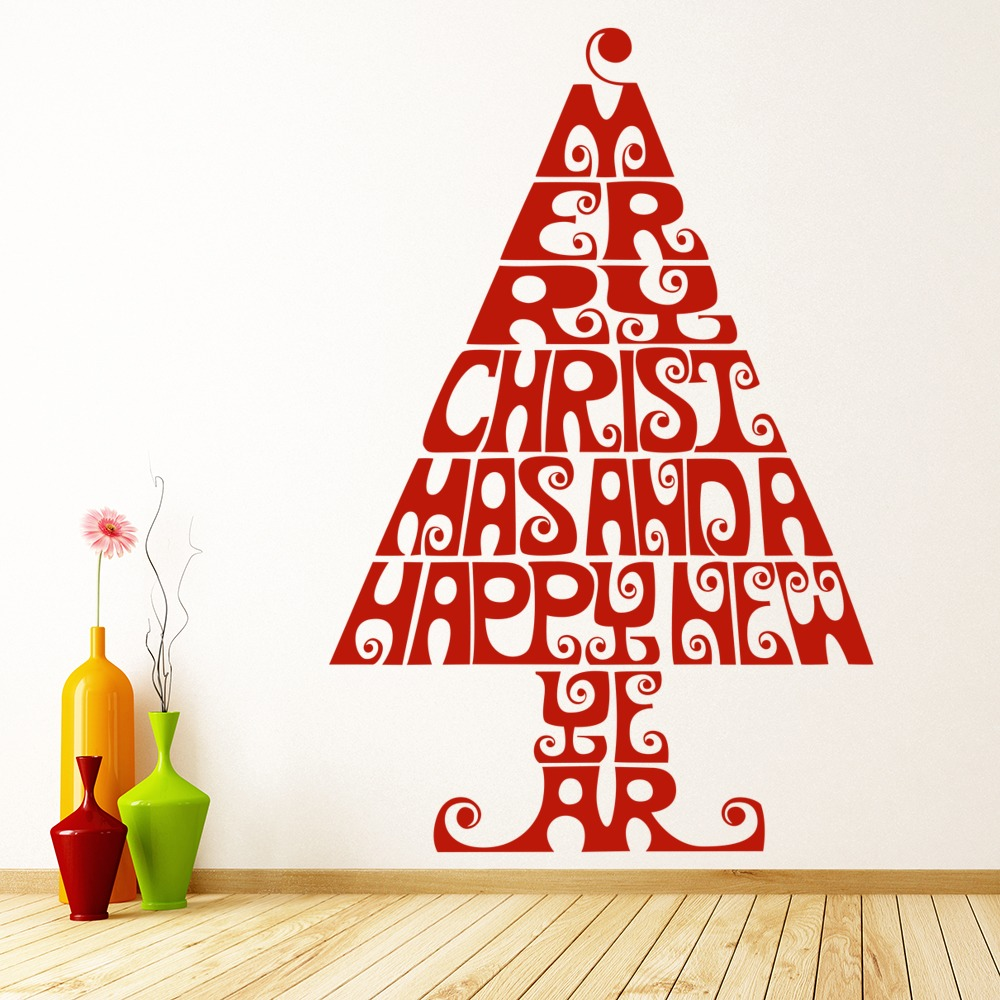christmas tree print wall sticker christmas wall art. Black Bedroom Furniture Sets. Home Design Ideas