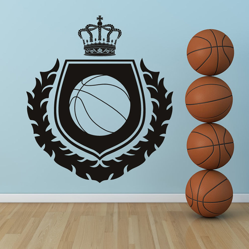 Basketball Badge Wreath & Crown American Sports Wall Stickers Gym Home Art Decal