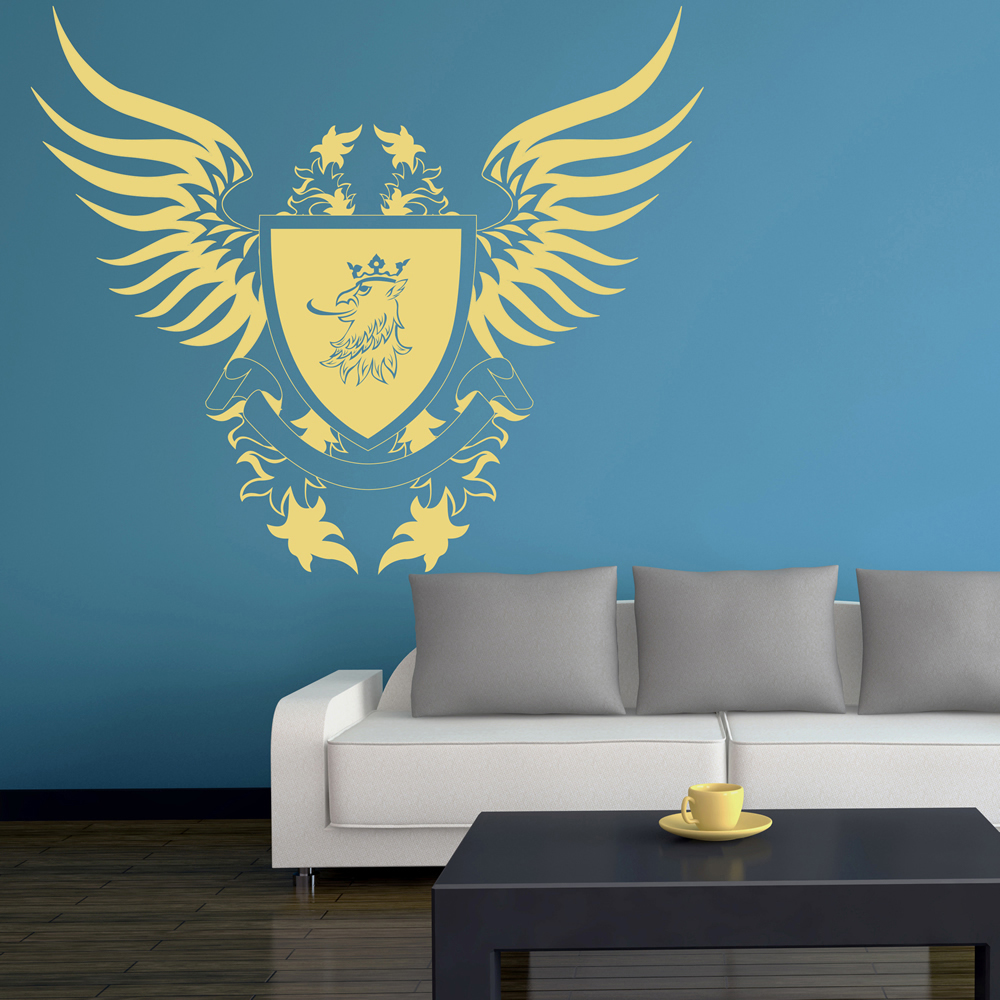 Shield & Wings Crest Badge Decorative Patterns Wall Sticker Home Decor Art Decal