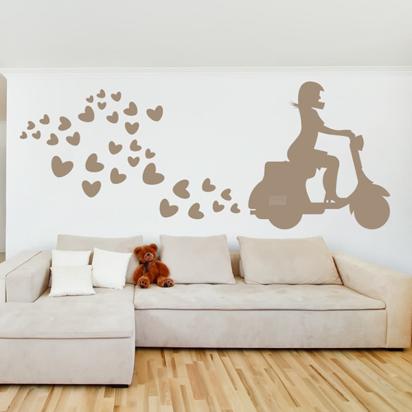 Scooter Hearts Wall Sticker Bike Wall Art