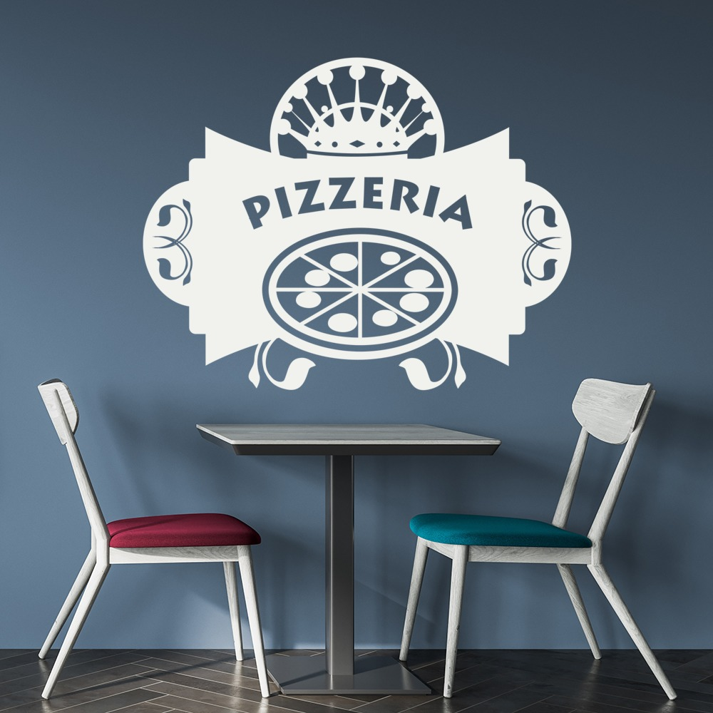 Pizzeria badge decorative wall art stickers decal - Decoratie pizzeria ...