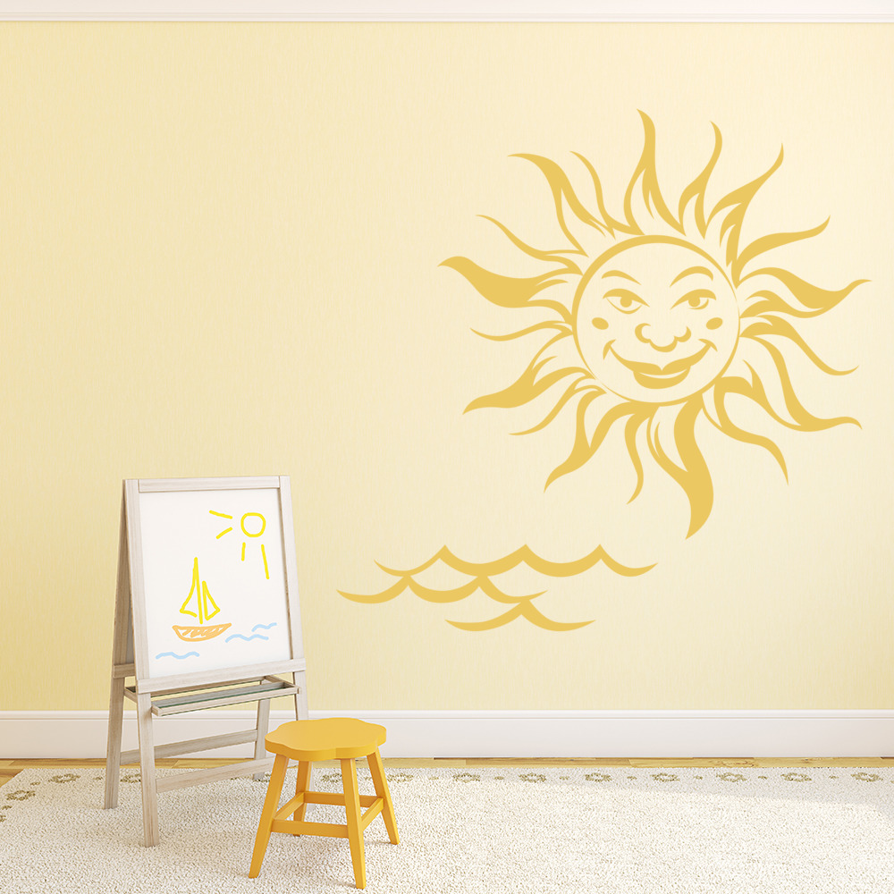 Sun Face And Sea Wall Sticker Sea Wall Art