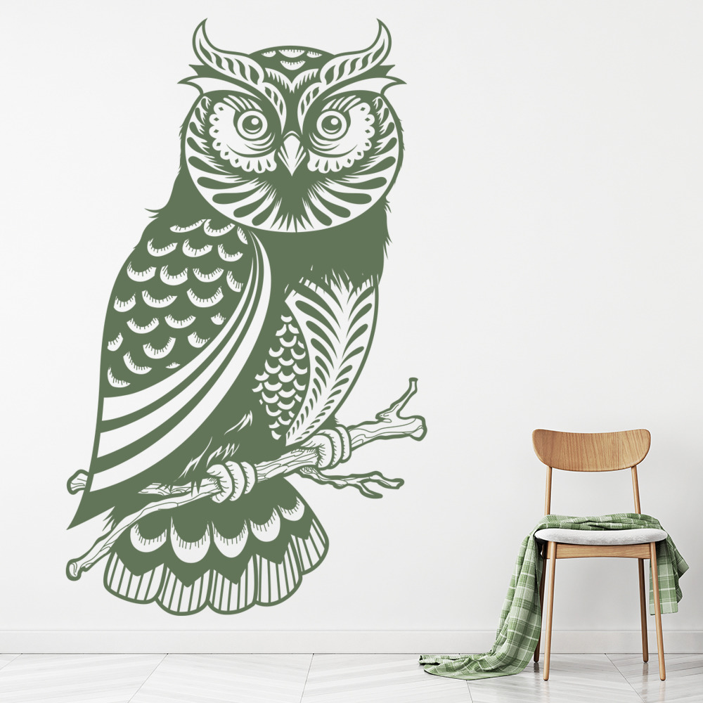Owl on a Branch Intricate Birds & Feathers Wall Stickers Home Decor Art Decals