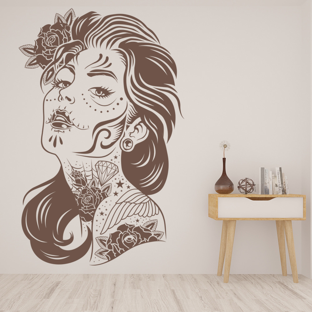 Tattooed Woman Decorative People And Faces Wall Stickers Home Decor Art Decals
