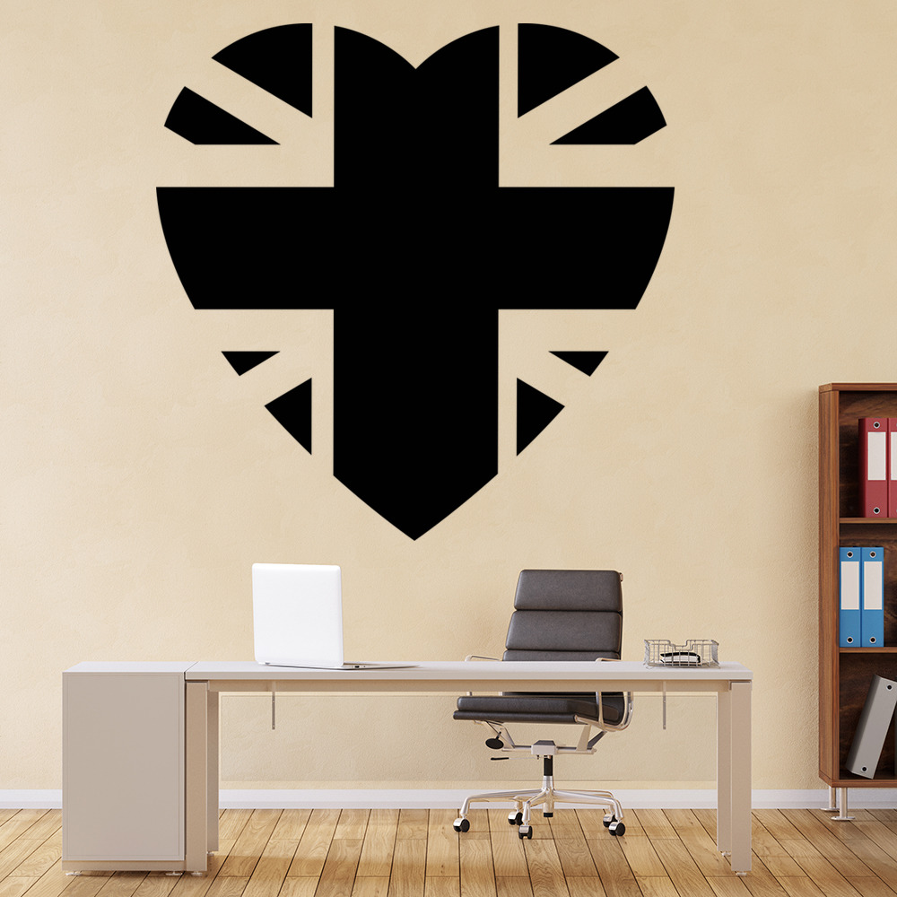 Union Jack Heart UK Flag Valentine Love Hearts Wall Sticker Home Decor Art Decal