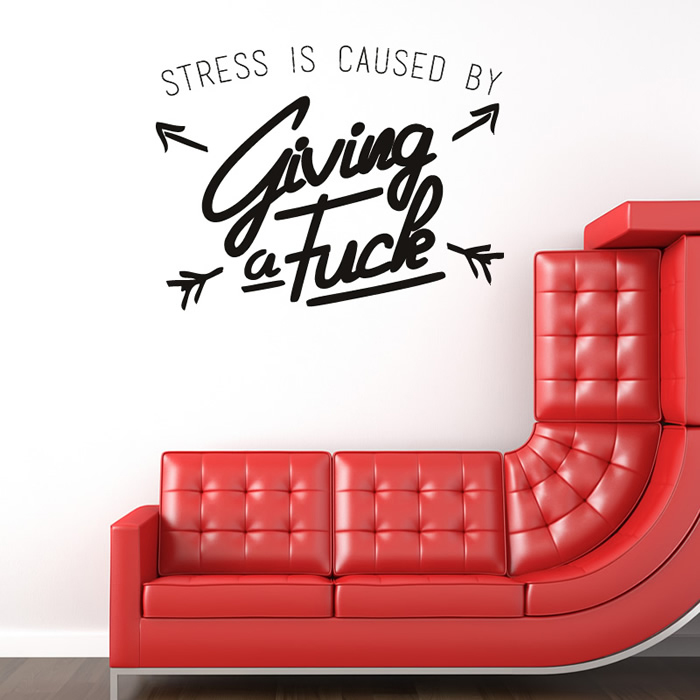Stress Is Caused By… Life And Inspirational Quote Wall Stickers Home Art Decals