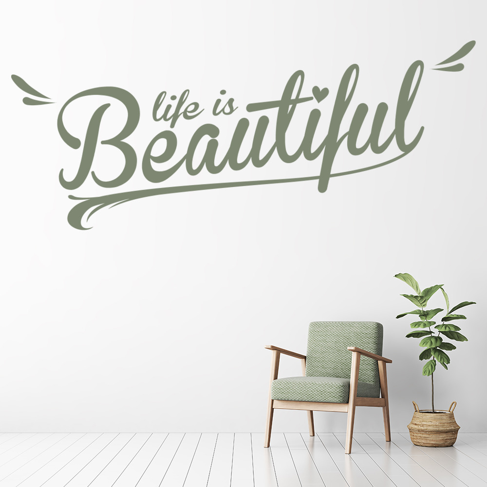 Life Is Beautiful Life And Inspirational Quote Wall Stickers Home Art Decals