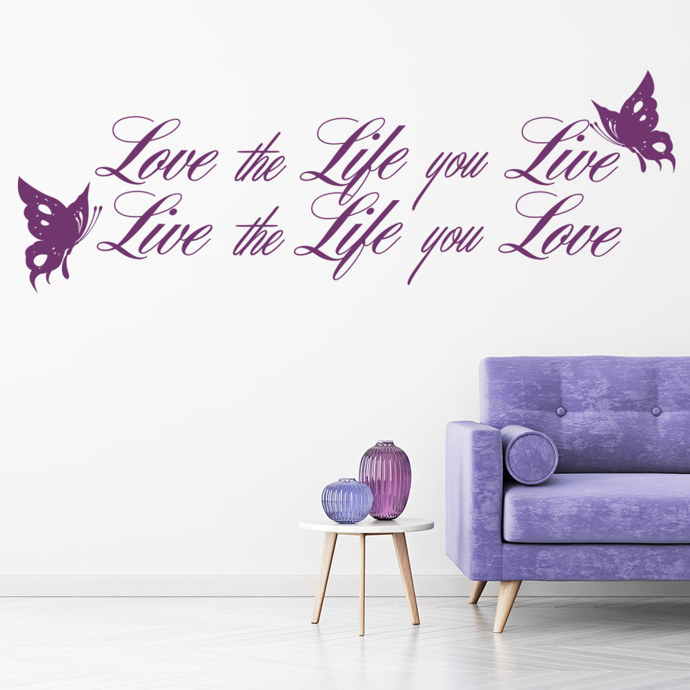 Love The Life You Live Inspirational Love Quotes Wall Stickers Home Art Decals