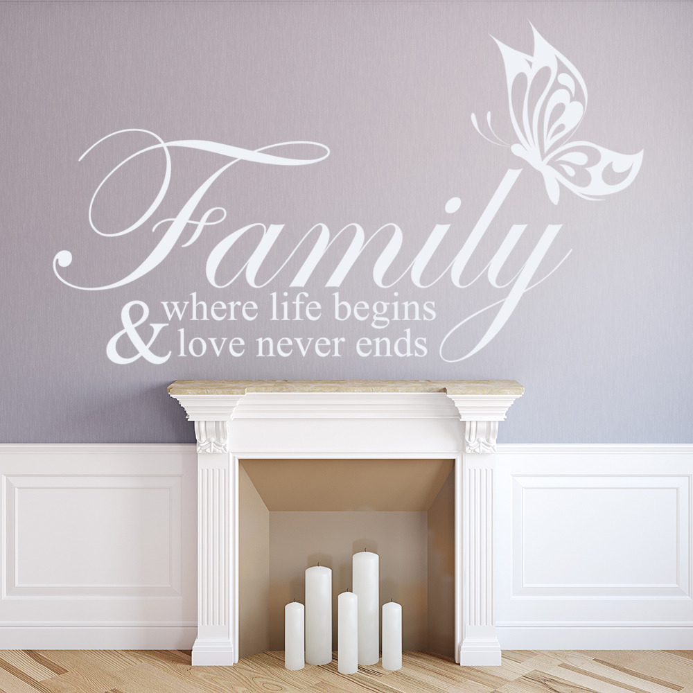 Family Where Life Begins Wall Sticker Family Wall Art