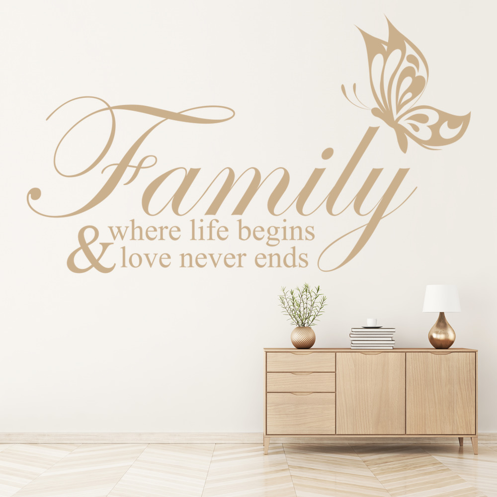 Family Where Life Begins Family & Friends Quotes Wall Stickers Home Art Decals
