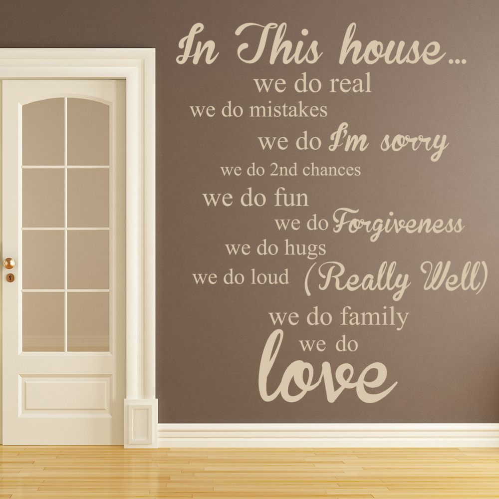 In This House Wall Sticker Family Quote Wall Decal Kitchen Living Room Decor